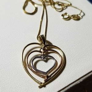Jewelry - 14k yellow white rose gold heart necklace